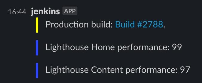 Screenshot showing Slack notifications of performance tests