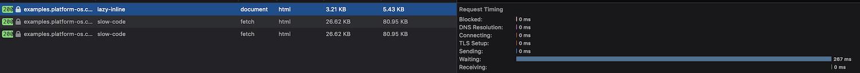 Lazy load inline timeline