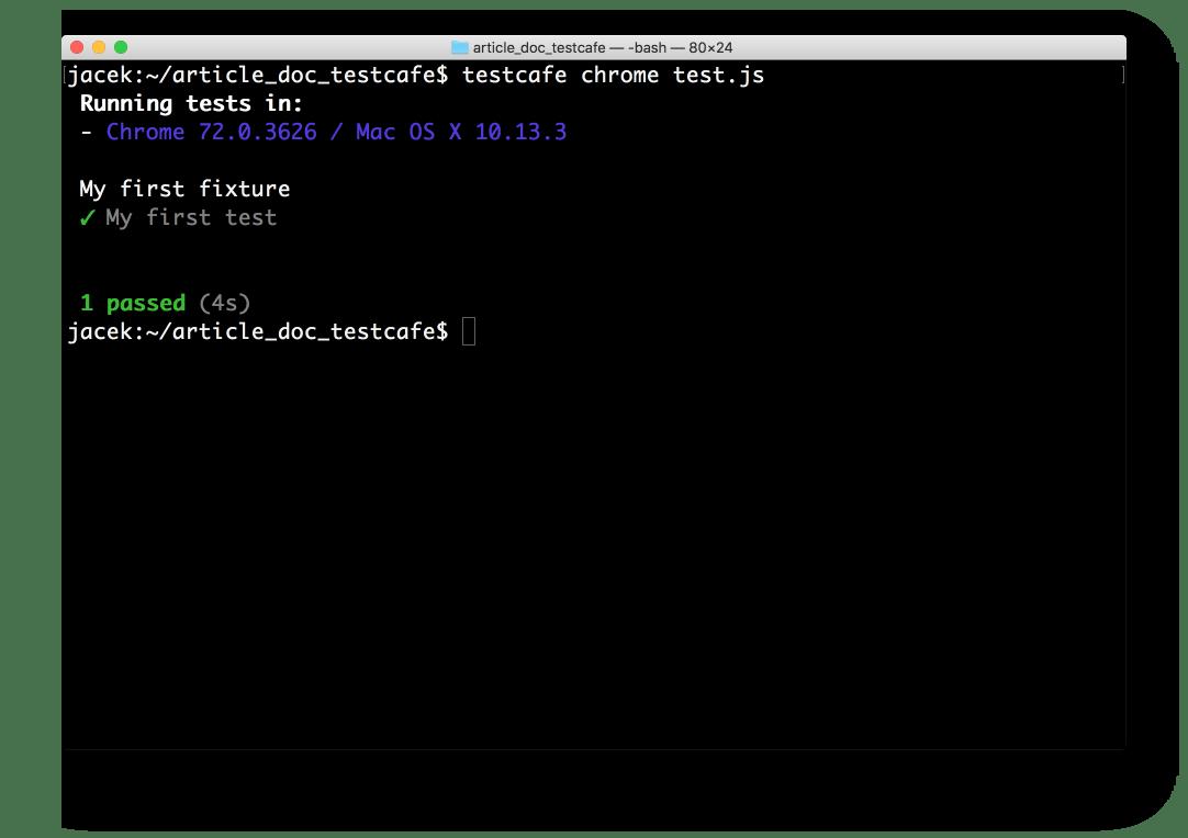 Screenshot of test running in Terminal. 1 test passed.