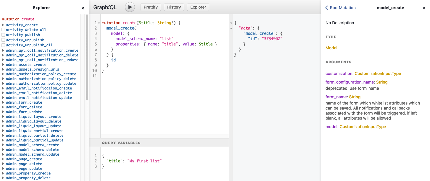 Screenshot of the GraphiQL editor