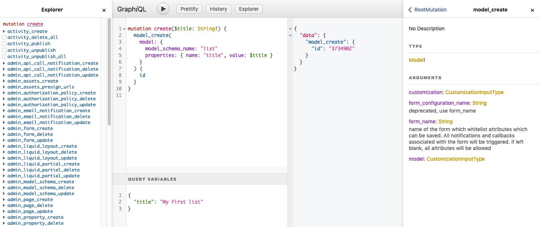 Screenshot of the GraphiQL editor