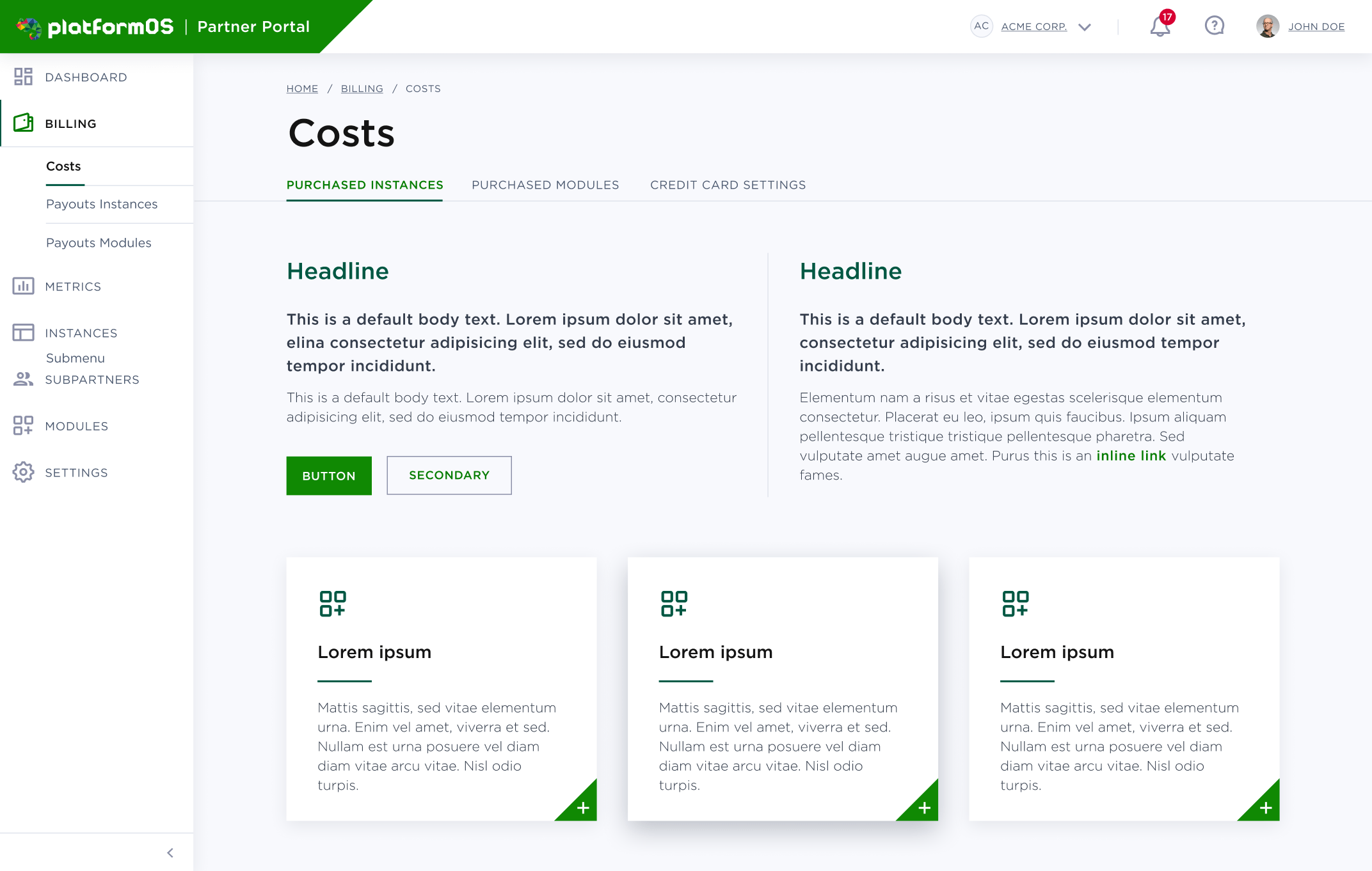 Selected designed style for the platformOS Partner Portal
