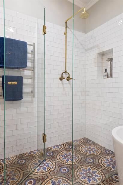 Custom made brass exposed shower rose & tapware.