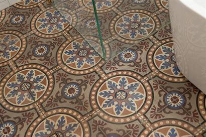 Artistically designed 150 year old encaustic floor tiles