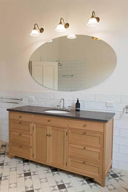 Custom made solid timber vanity unit with stone top & undercounter vanity basin