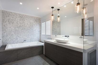 Stylish bathroom using shades of grey and charcoal
