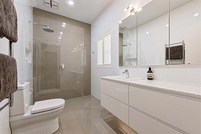 Modern bathroom in neutral tones with large shower