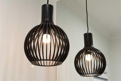 Bathroom lighting using retro pendant light in black