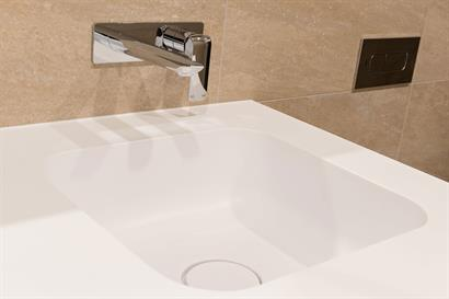 Corian vanity basin waste