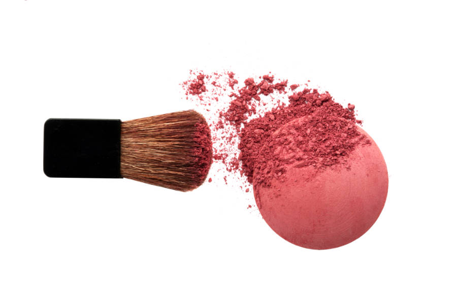 cosmetic blush powder with brush