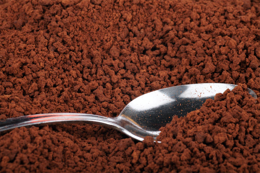 a spoon in freeze-dried coffee
