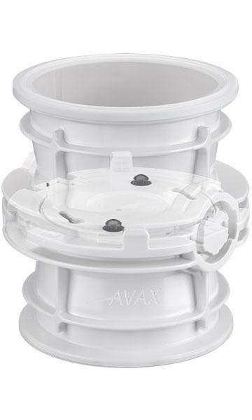 Plastic AVAX valve docked with translucent top