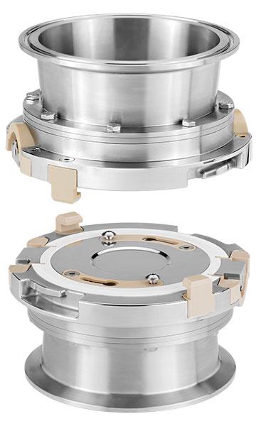 Two stainless steel AVAX valves