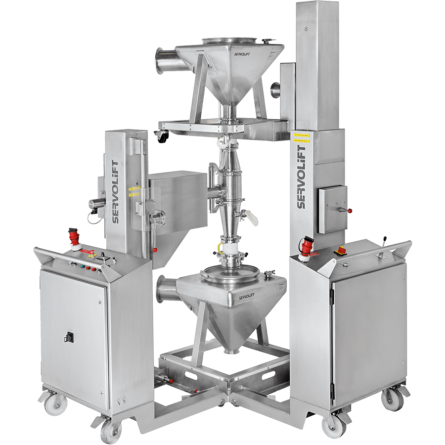 a high containment lifter facilitating the transferring of product into a stainless steel IBC