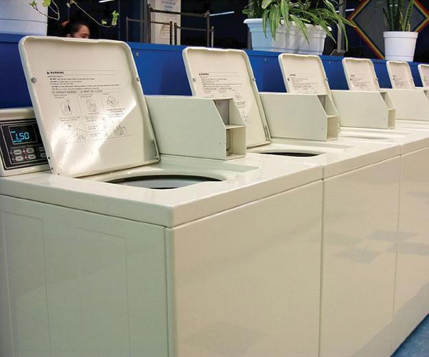 line of washing machines