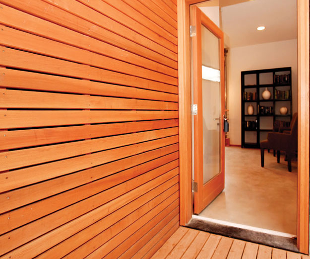 wood walled entryway