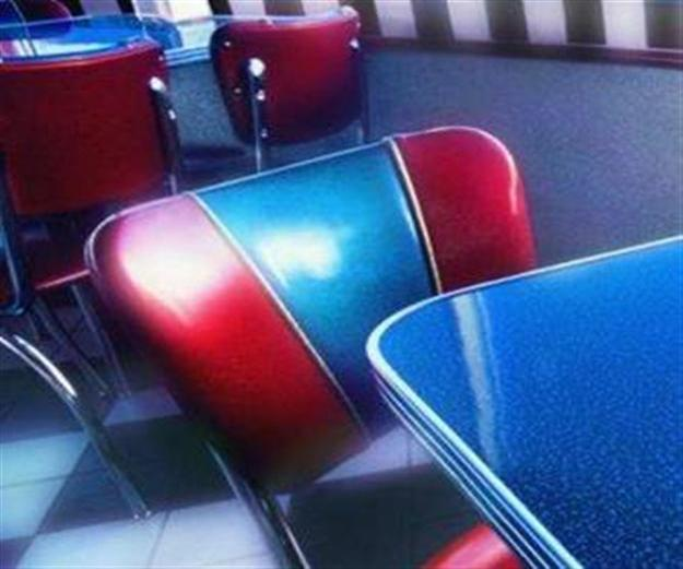 chairs with shiny vinyl coverings