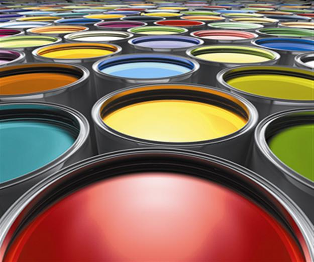 lots of open paint cans in many colors