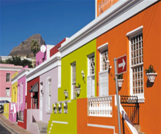 brightly painted row of homes