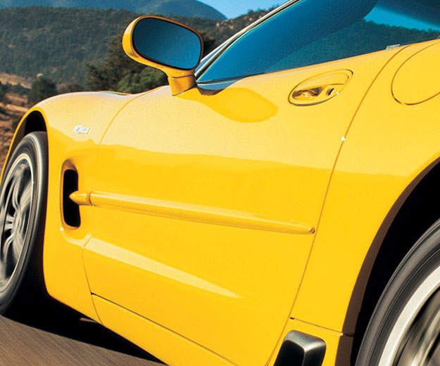 side of yellow sports car