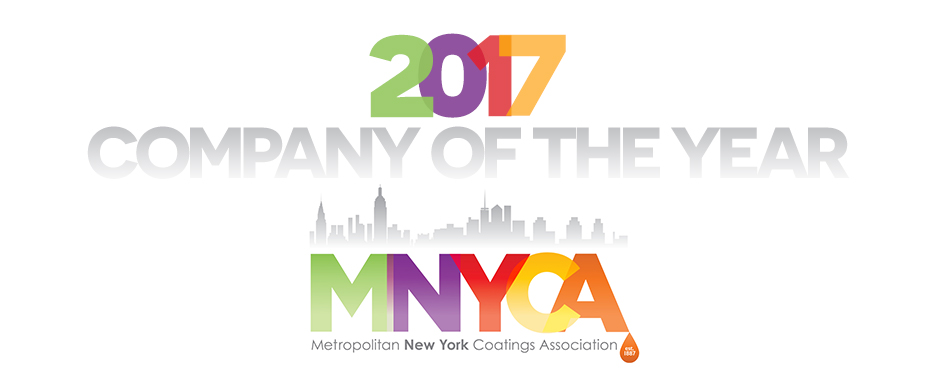 2017 Company of the Year Award from Metropolitan New York Coatings Association