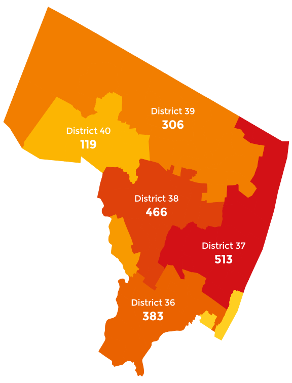 Map of Bergen County showing where enrollees live