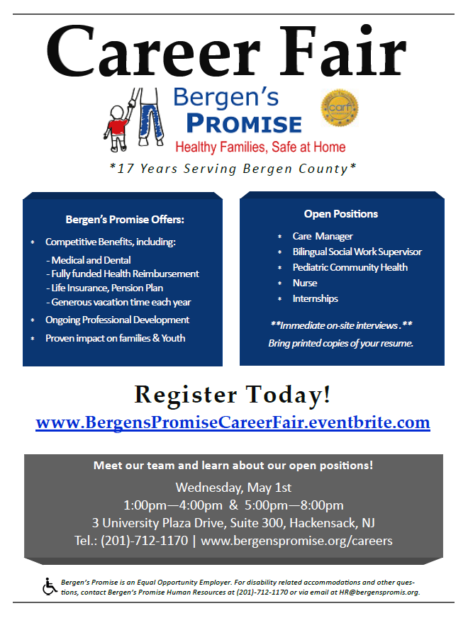 Bergen's Promise invites job seekers to register for Career Fair on May 1st
