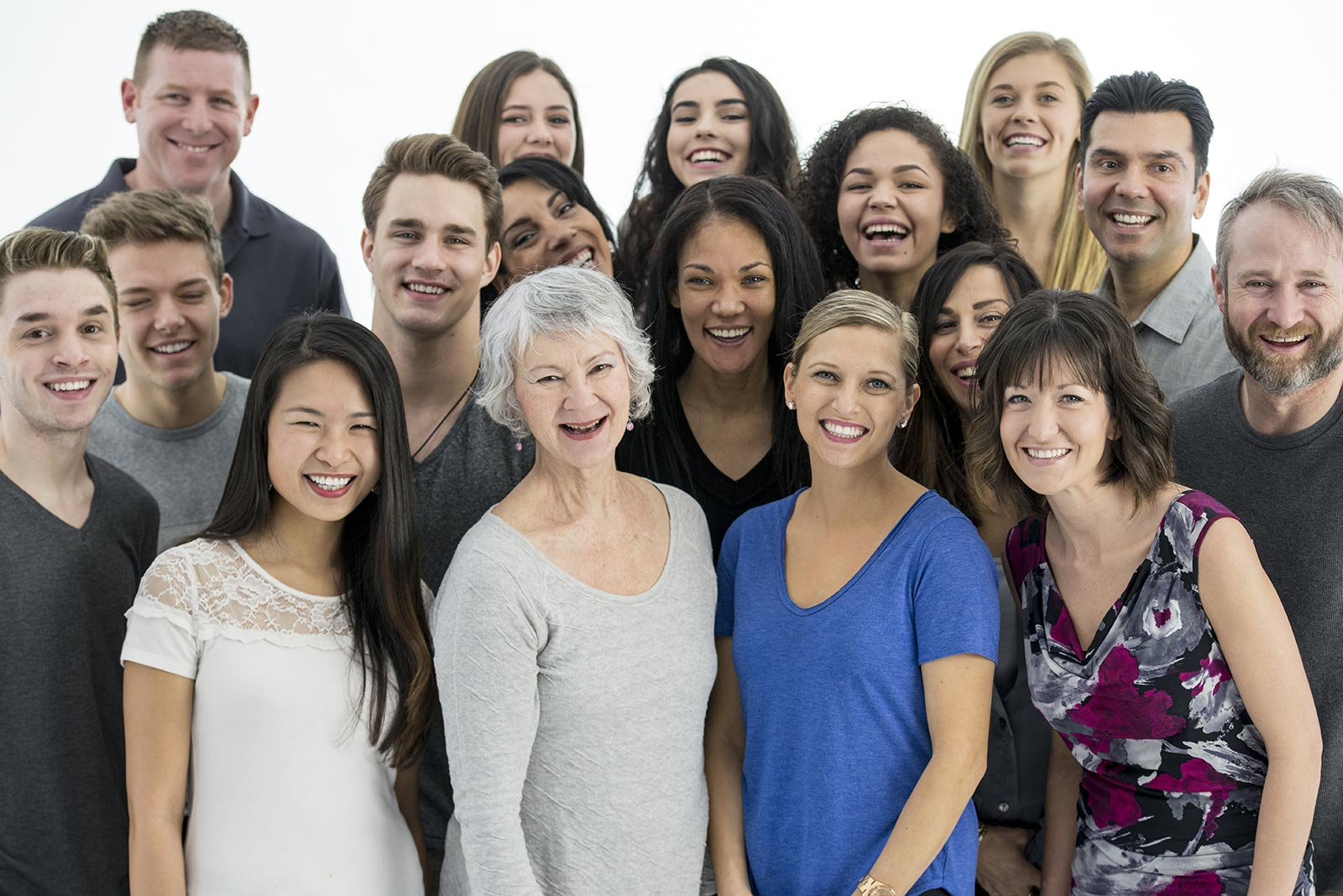 Large, diverse group of people who are partners