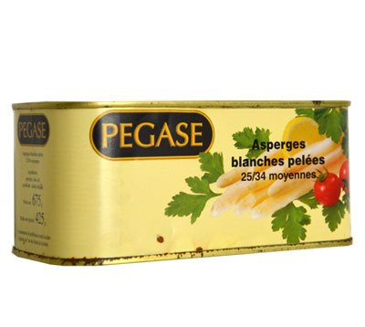 Asperges blanche pelées (moyenne) PEGASE (Bte 4/4)