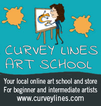 curvey lines art school ad for beginner and intermediate artists.