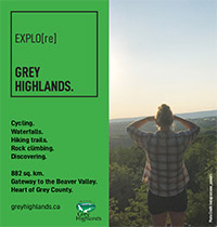 Explore Grey Highlands ad with view of the Beaver Valley.