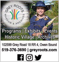 Grey Roots Ad with young girl in costume.