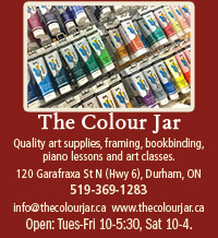 The Colour Jar ad for art supplies, framing and bookbinding.