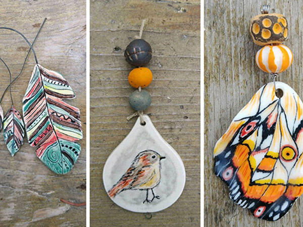 ceramic jewellery with birds, butterflies and feathers