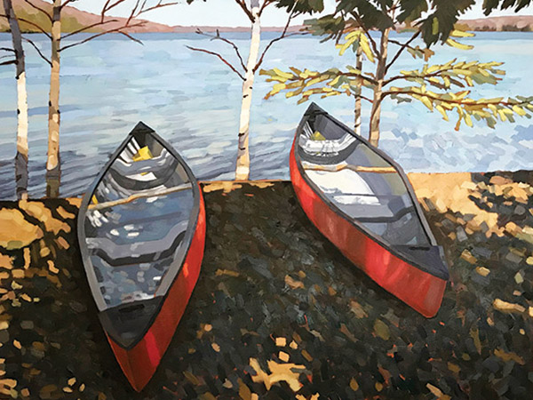 oil painting of two red canoes on a lakeshore