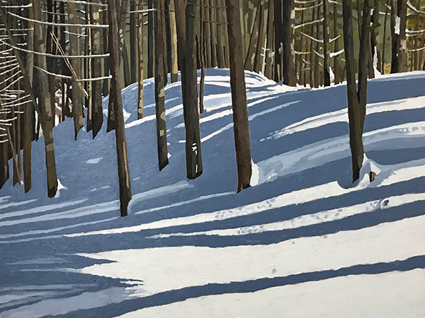 oil painting of trees and shadows in winter
