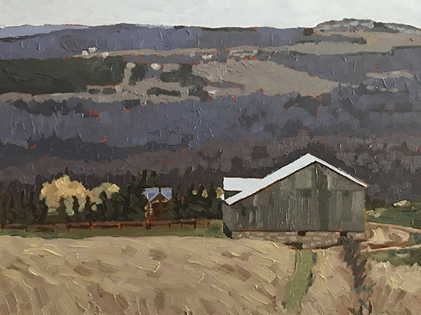 oil painting of a farm with view of valley and hills in the background