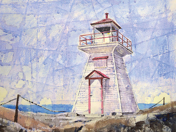 watercolour painting of lion's head lighthouse