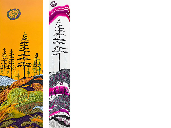 two vertical paintings of evergreen trees with colourful skys.