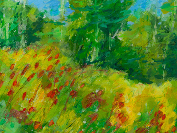 Pauline Jennet's painting of trees, grass and flowers