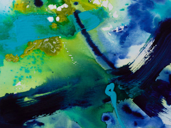 Merryn Edgar's abstract painting blues and greens.