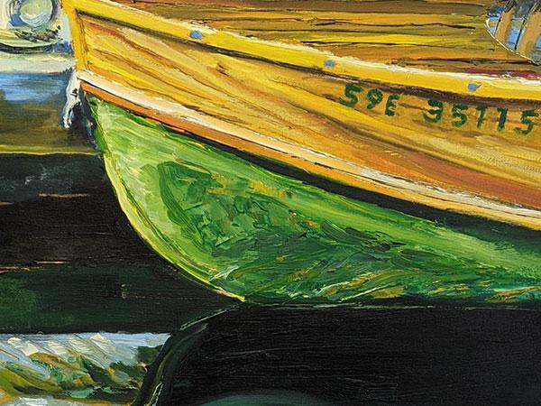 Jenn Keskikyla's painting of part of the bow of a boat.