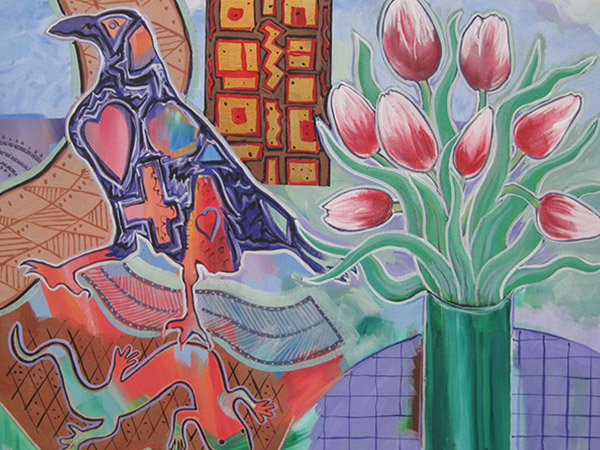 colourful artwork of a crow and tulips