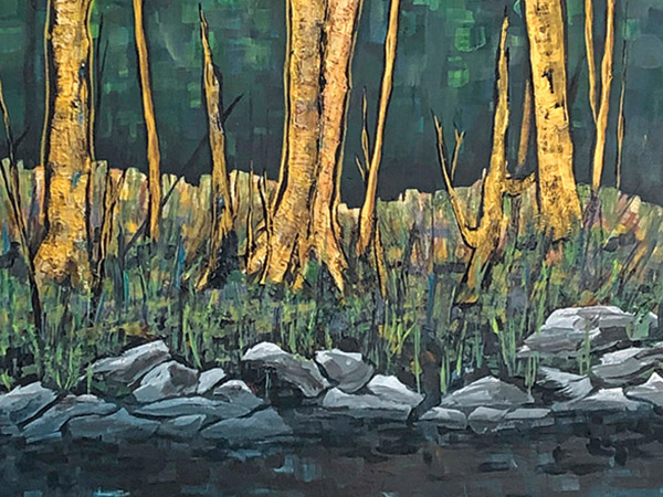 painting of trees rocks and grass beside a river