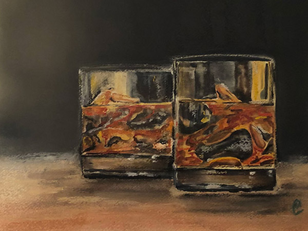 painting of two drinks with ice
