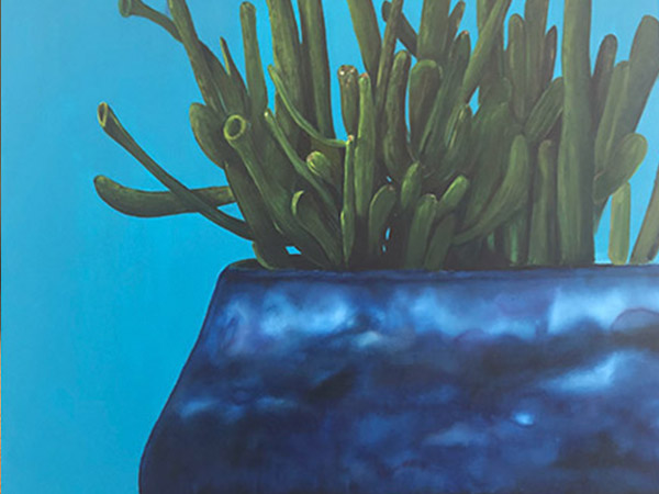 painting of a blue pot and green succulent