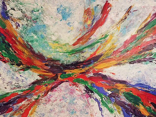 abstract painting with white, red, green and blue