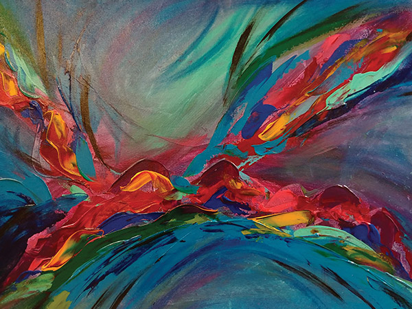 abstract painting with blue background, red, orange and green