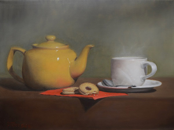 Still life painting of tea pot, cup and cookies.