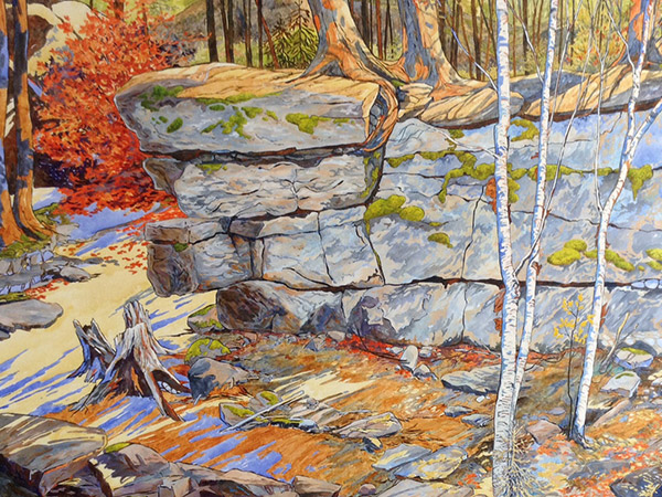 watercolour painting of autumn forest and rock outcrop